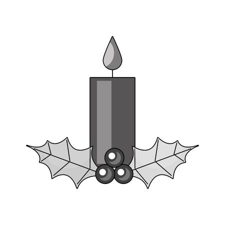 Vela de Navidad ardiendo con holly berry deja ilustración de vector de decoración Foto de archivo - 90110333
