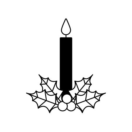Vela de Navidad ardiendo con holly berry deja ilustración de vector de decoración Foto de archivo - 90110361