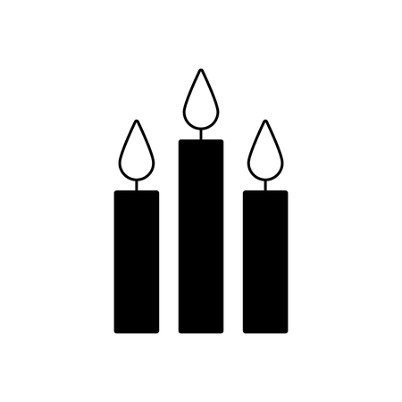 three burning candles christmas decoration vector illustration Ilustração