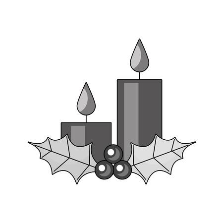Navidad velas acebo bayas temporada vacaciones vector illustration Foto de archivo - 90110734