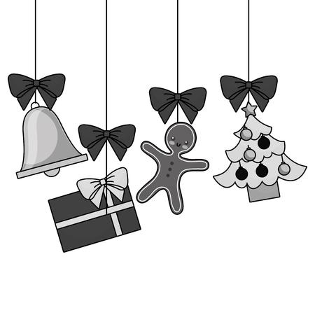 装飾の伝統的なベクトル図を吊りメリー クリスマス ツリー ギフト ジンジャーブレッド ベル