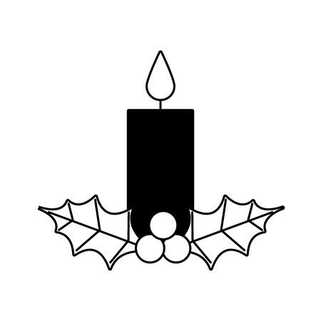 Vela de navidad ardiente con acebo bolas decoración ilustración vectorial Foto de archivo - 90110443