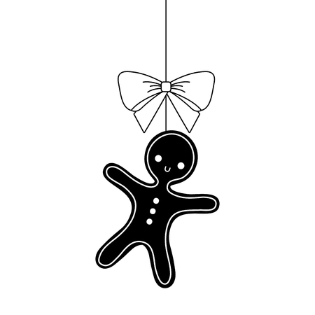 christmas gingerbread man bow ornament hanging vector illustration