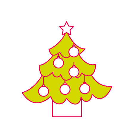 christmas tree pine star and balls decoration party vector illustration