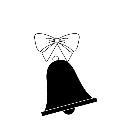 merry christmas bell bow hanging decoration vector illustration