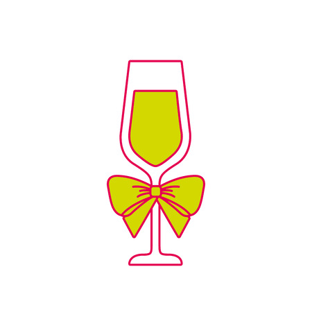 champagne glass with bow decoration christmas vector illustration