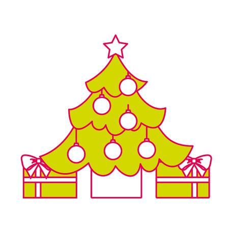 merry christmas happy tree balls star gift decoration vector illustration