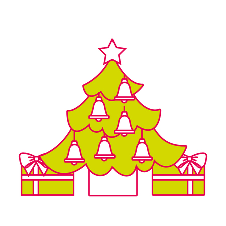 merry christmas happy tree star bells gift decoration vector illustration Illustration