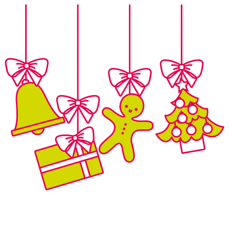 Merry christmas tree gift peperkoek bell opknoping decoratie traditionele vectorillustratie Stock Illustratie