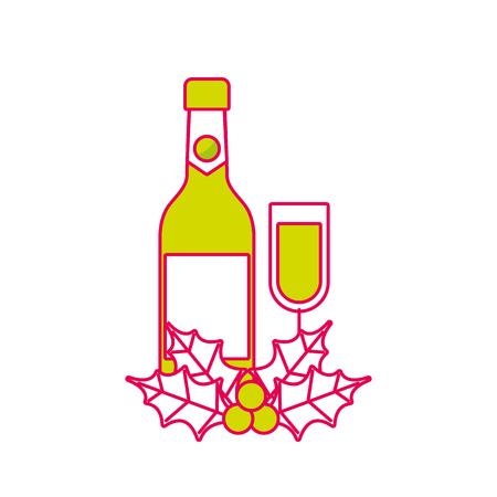 christmas champagne bottle glass holly berry decoration celebration vector illustration