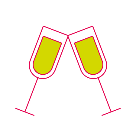 pair of champagne glass cheers drink celebration christmas vector illustration