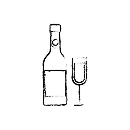 merry christmas bottle champagne and glass celebration vector illustration