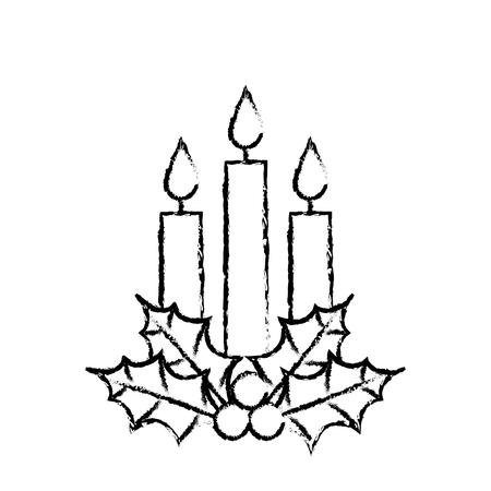 Navidad tres vela holly berry deja quema ilustración de vector de decoración Foto de archivo - 90112122