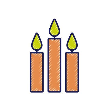 three burning candles christmas decoration vector illustration Ilustração