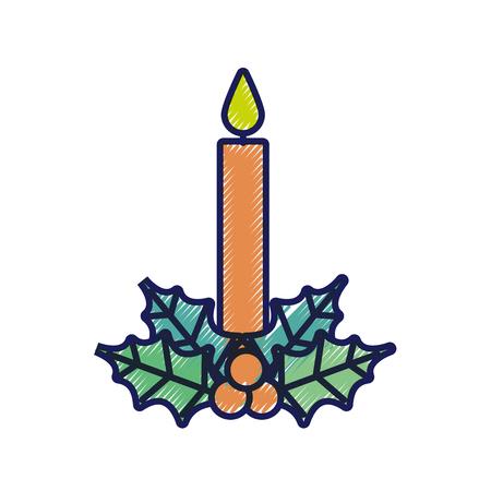 Vela de navidad ardiente con acebo bolas decoración ilustración vectorial Foto de archivo - 90111917