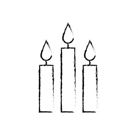 three burning candles christmas decoration vector illustration Illusztráció