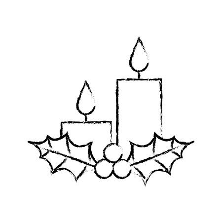 Navidad velas acebo bayas temporada vacaciones vector illustration Foto de archivo - 90111926