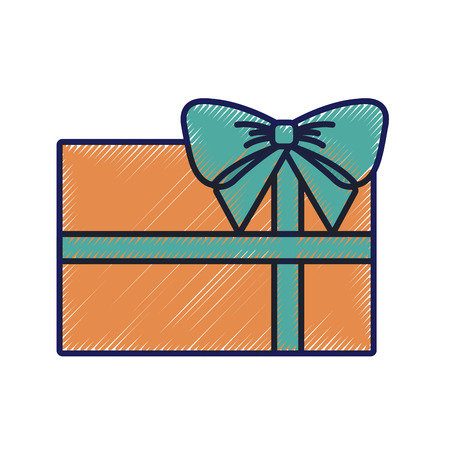 christmas gift wrapped ribbon and bow decoration vector illustration