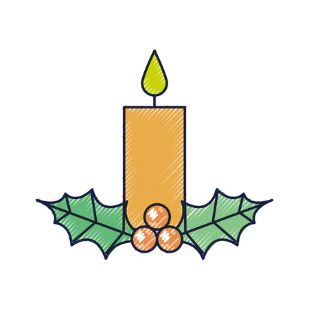 christmas candle burning with holly berry leaves decoration vector illustration Çizim