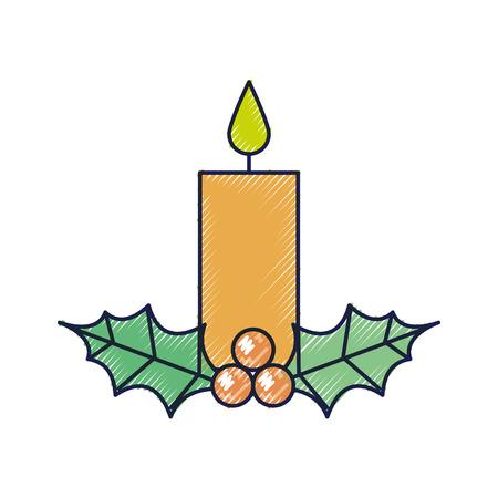 Kerst kaars branden met hulst bessen bladeren decoratie vectorillustratie