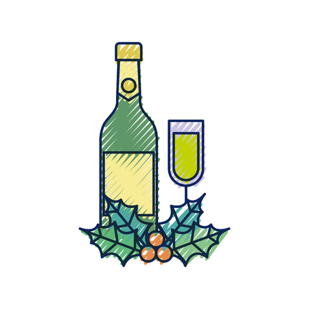 christmas champagne bottle glass holly berry decoration celebration vector illustration