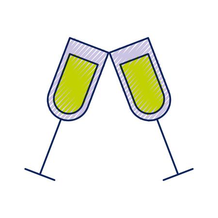 paar champagne glas proost drinkt viering kerst vector illustratie Stock Illustratie