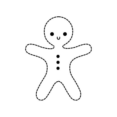메리 크리스마스 진저 쿠키 달콤한 음식 벡터 일러스트 레이션