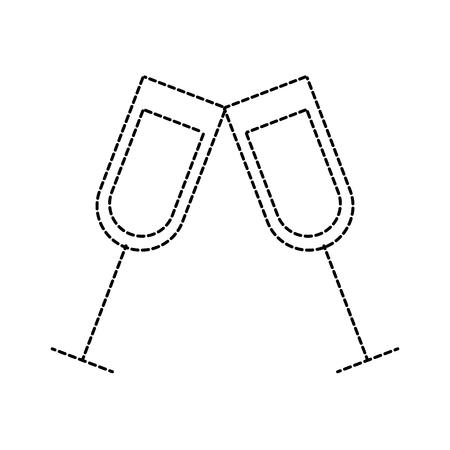 paar champagne glas proost drinkt viering kerst vector illustratie