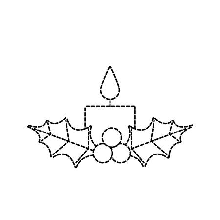 Vela de navidad ardiente con acebo bolas decoración ilustración vectorial Foto de archivo - 90112457
