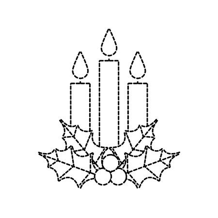 Navidad tres vela holly berry deja quema ilustración de vector de decoración Foto de archivo - 90133541