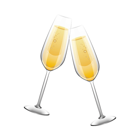 pair of champagne glass cheers drink celebration christmas vector illustration Banco de Imagens - 90133570
