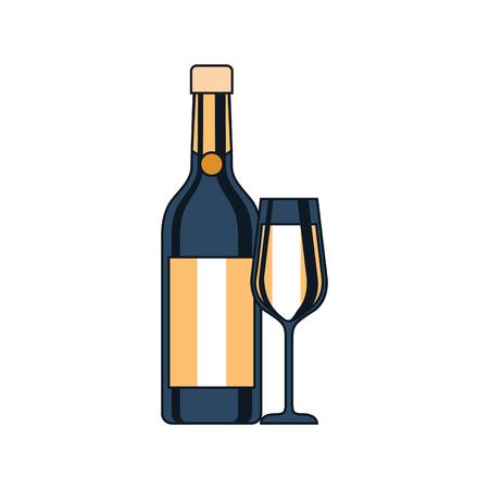 vrolijk kerstfeest fles champagne en glas viering vectorillustratie