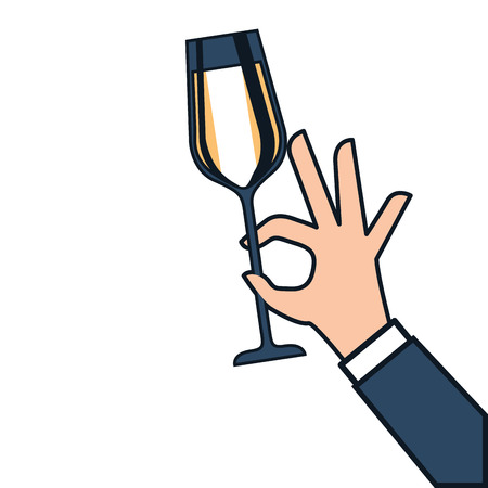 event party: hand holding champagne glass cheers celebration vector illustration Illustration
