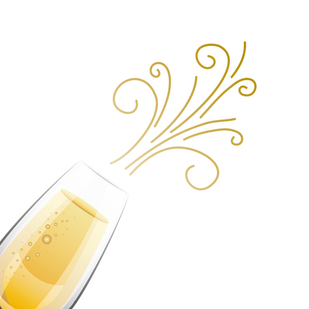 champagne glass drink celebration christmas vector illustration