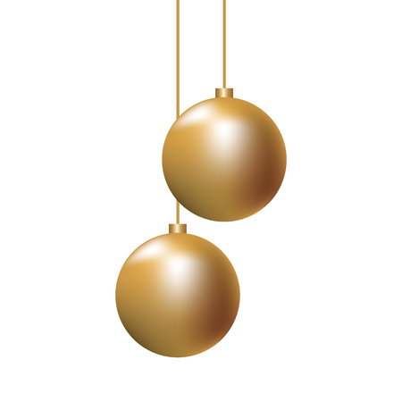 christmas golden balls hanging decoration elegance vector illustration