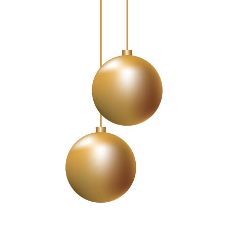 christmas golden balls hanging decoration elegance vector illustration