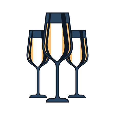 three glasses with champagne alcohol liquid celebration vector illustration Иллюстрация
