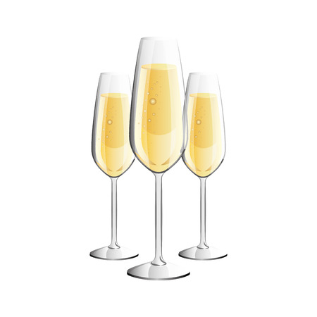three glasses with champagne alcohol liquid celebration vector illustration Illustration