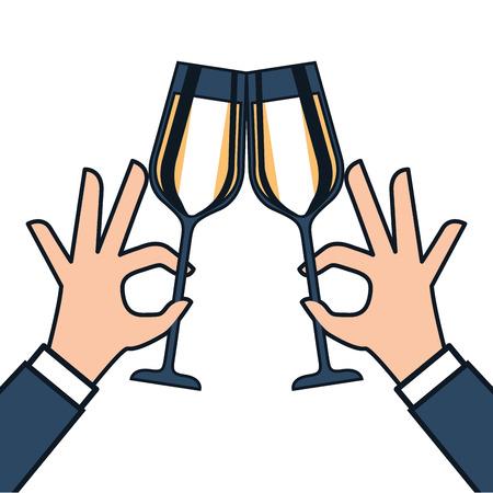 handen met glas wijn maken een toast vectorillustratie