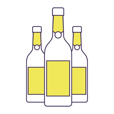 three champagne bottles drink beverage event vector illustration