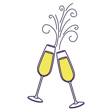 Coppia di brindisi di vetro champagne bere scintillii illustrazione vettoriale di Natale Archivio Fotografico - 90131972
