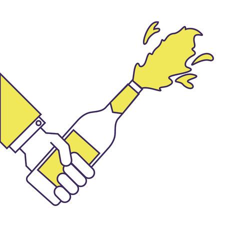 Hand hält Champagner-Flasche Explosion Veranstaltung Vektor-Illustration Standard-Bild - 90131973