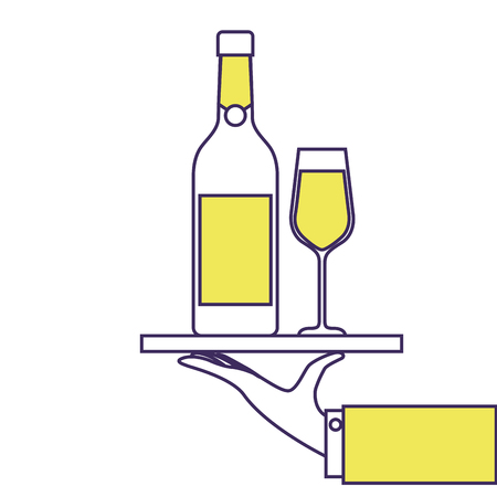 waiter hand holding tray with bottle glass of champagne for service vector illustration Imagens - 90131975