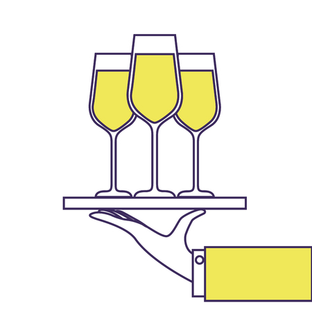 手はワインにシャンパンとトレイ ガラス サービスのベクトル図