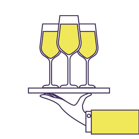 mano sosteniendo la bandeja con la ilustración de vector de champagne vino servicio Ilustración de vector