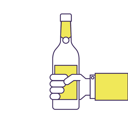 holding a bottle of wine or champagne drink vector illustration Ilustração