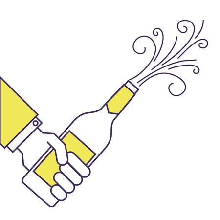 hand holding champagne bottle explosion event  vector illustration Illustration