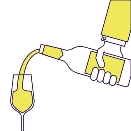 Waiter main tenant une bouteille de vin et des verres de vin vecteur illustration Banque d'images - 90131979