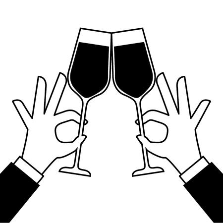 両手ワイングラスを作るトースト ベクトル図 写真素材 - 90131980