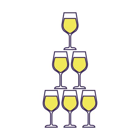 Pyramide der Glasflöte becher alkoholischer Champagnergetränk vector Illustration Standard-Bild - 90131986